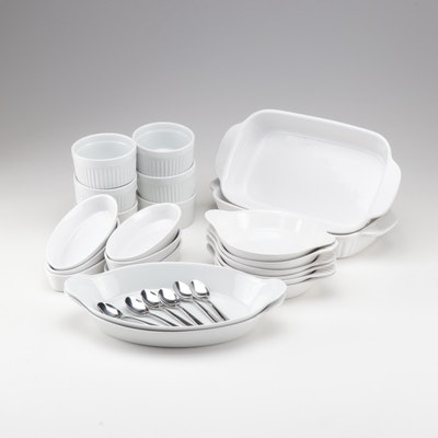 Ceramic White Bakeware with Demitasse Spoons