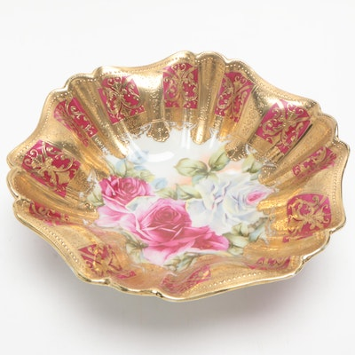 Japanese Hand-Painted Porcelain Embossed Gilt Centerpiece