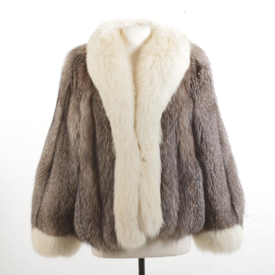 Crystal and White Fox Fur Jacket