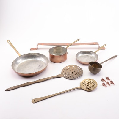 Waldow Copper and Brass Skillet and Other Cookware