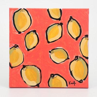 "Kait Roberts Acrylic Painting ""Lemon Fresh"""