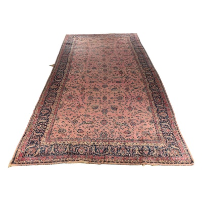Hand-Knotted Indo-Persian Kashan Wool Gallery Rug