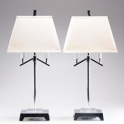 Chrome Modern Table Lamps with Shades