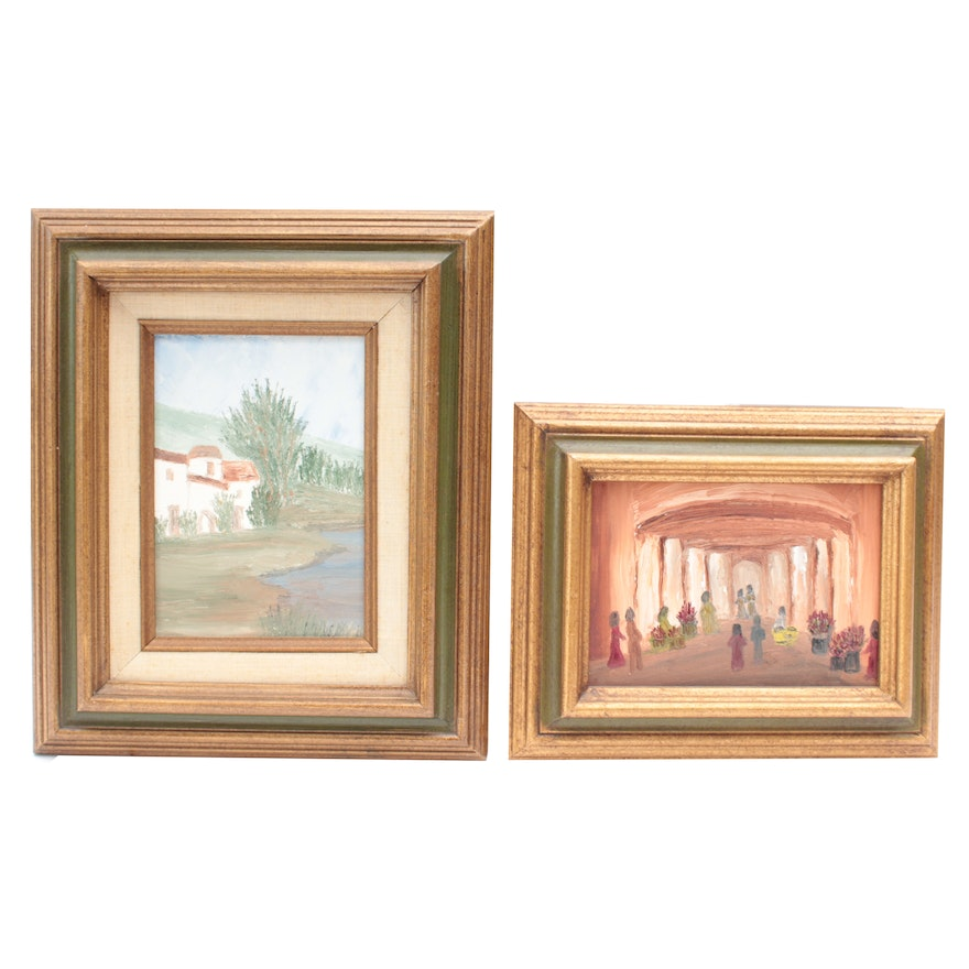 Oil Painting of Landscape and Oil Painting of Interior Scene