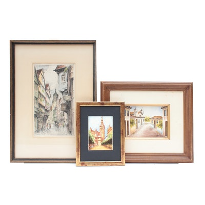 """Paul Geisller Colored Etching """"Stuttgart"""" and More"""