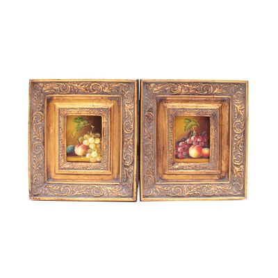 Miniature Oil Paintings of Fruit Still Life