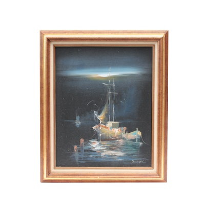 Thomas Oil Painting of Fishing Boat