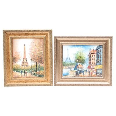 Burnett Oil Paintings of Paris Street Scenes