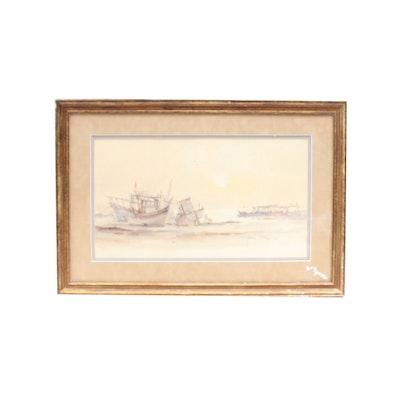 Watercolor of Fishing Boats