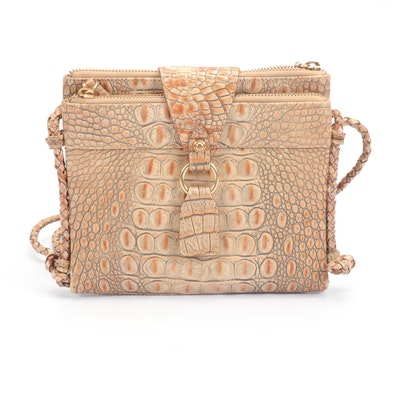 Brahmin Croc Embossed Italian Leather Pecan Melbourne Crossbody bag