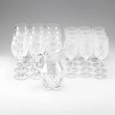 """Gorham """"Lady Anne"""" Crystal Water Goblets and Pitcher, Late 20th Century"""