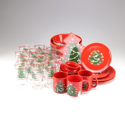 "Waechtersbach ""Christmas Tree"" Glass Tumblers and Earthenware Dinnerware"