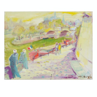 Mid Century Painterly Style Oil Painting of the Seine