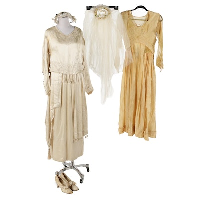 Satin Wedding Dress, Veil and Shoes with Bridesmaid Dress,  Late 1920s Vintage