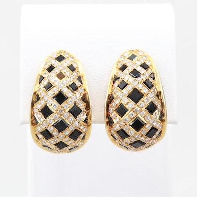 14K Yellow Gold Black Onyx and 2.95 CTW Diamond Earrings