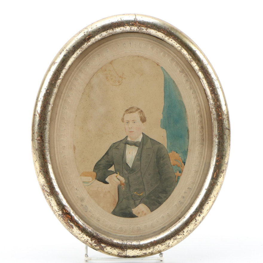 19th Century Watercolor Portrait Painting