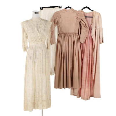 Dresses Including Cotton Voile with Bobbin Lace Trim, Early 20th Century