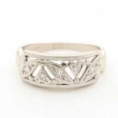 14K White Gold Diamond Openwork Ring