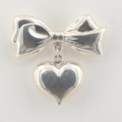 Sterling Silver Bow and Heart Brooch