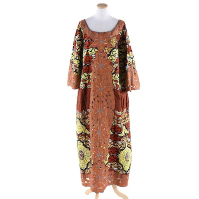 African Wax Print Maxi Tunic Dress with Machine Stitched Appliqué