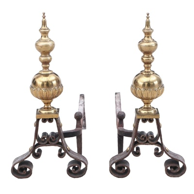 Colonial Revival Style Brass and Iron Andirons, Early 20th Century