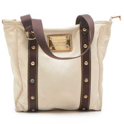 Louis Vuitton Limited Edition Cream Canvas Antigua Cabas MM Tote Bag