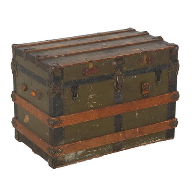 Wood and Metal Reinforced Steamer Trunk