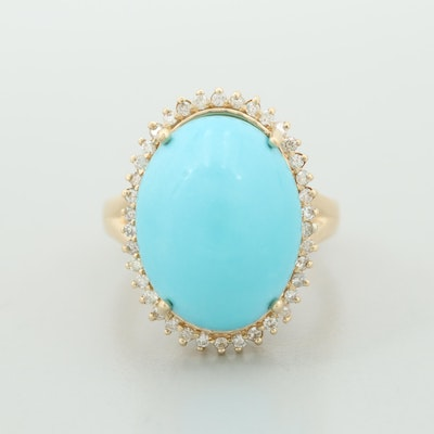 Vintage 14K Yellow Gold Turquoise and Diamond Halo Ring