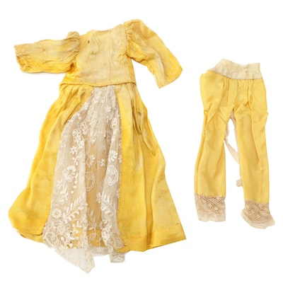 Yellow Silk Doll Dress with Floral Lace and Pantaloons