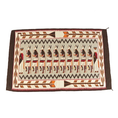 Handwoven Native American Yei-Style Wool Pictorial Rug