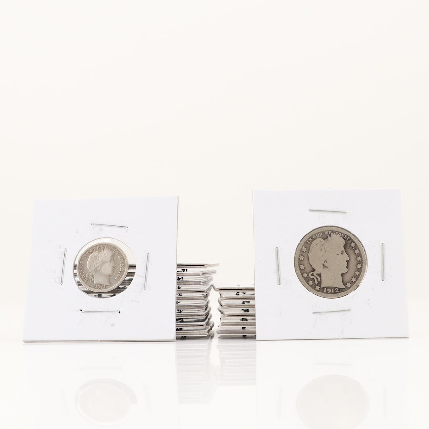 Seven Silver Barber Quarters and Ten Silver Barber Dimes