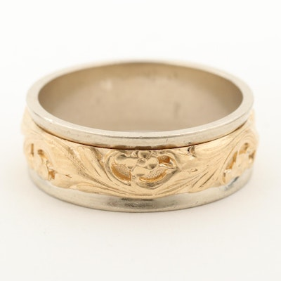 14K Yellow and White Gold Scrollwork Band