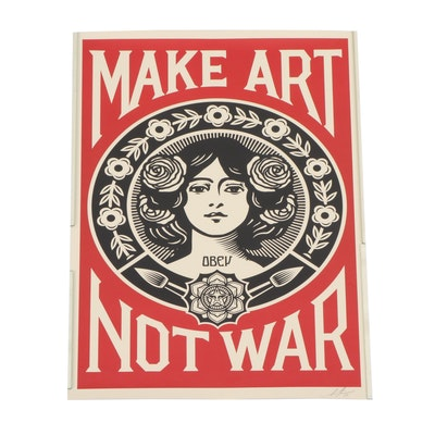 "Shepard Fairey 2019 Offset Print ""Make Art Not War"""