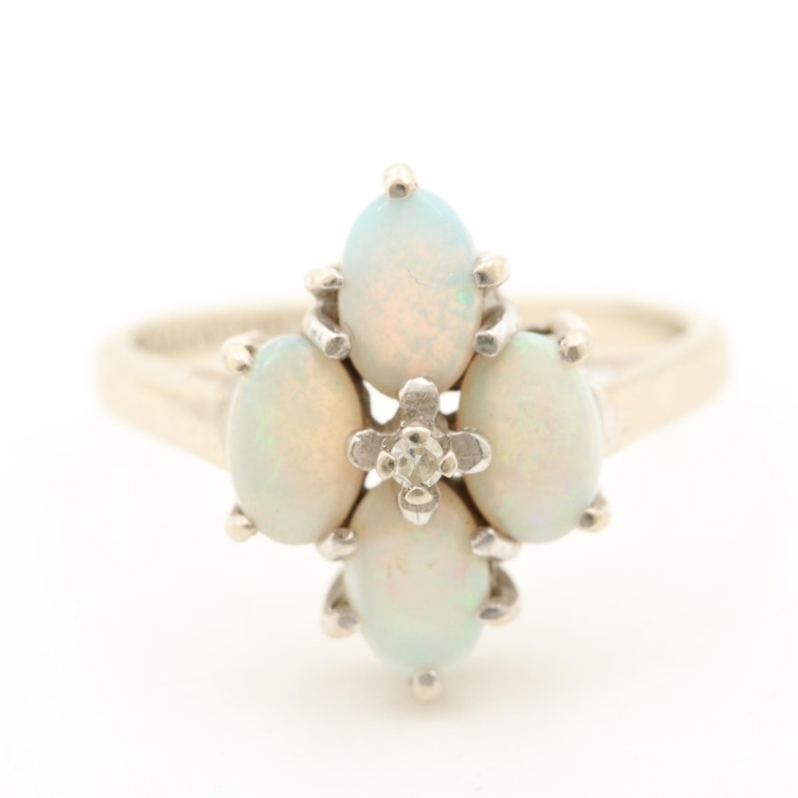White Ring Gold 14k Opal And Diamond CEreBQdxoW