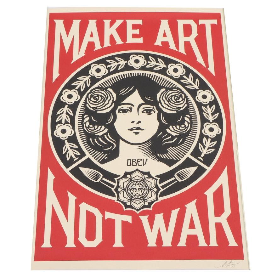 """Shepard Fairey Signed 2019 Offset Print """"Make Art Not War"""""""