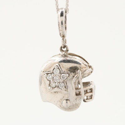 Sterling Silver Diamond Star Football Helmet Pendant with 14K Gold Necklace