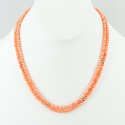 Coral Beaded Necklace with 14K Yellow Gold Spacers