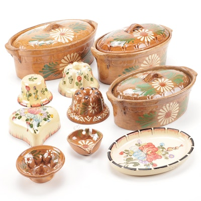 H. Siegfried Soufflenheim Hand-Painted French Terracotta Bakeware and Molds