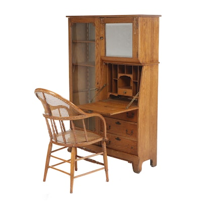 Victorian Oak Drop Front Secretary Desk with Caned Armchair, 19th/20th Century