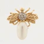 14K Yellow Gold Cultured Pearl and Diamond Insect Converter Brooch