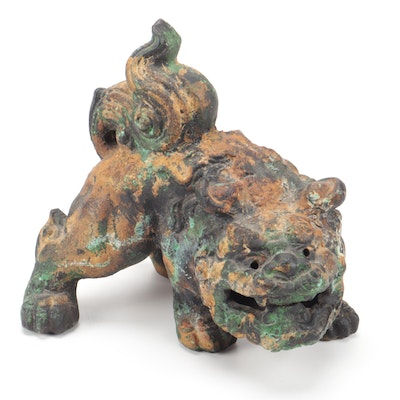 Japanese Cast Iron Komainu Lion-Dog Statue, Meiji Period