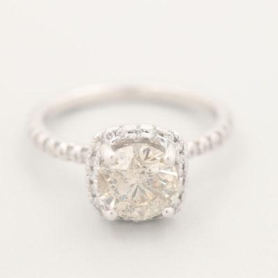 14K White Gold 1.74 CTW Diamond Halo Ring