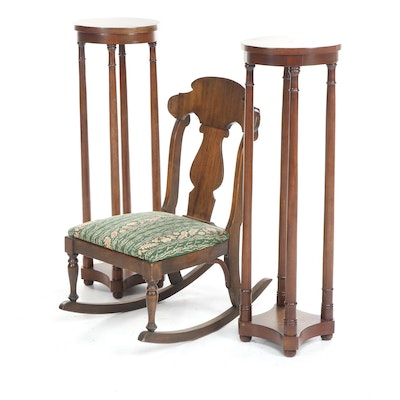 Colonial Revival Fiddle-Back Walnut Rocking Chair with Pair of Plant Stands