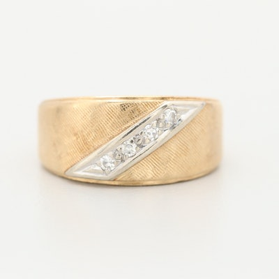 Vintage 14K Yellow Gold Diamond Ring with White Gold Accent
