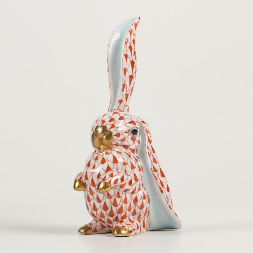 """Herend Rust Fishnet with Gold """"Rabbit with One Ear Up"""" Porcelain Figurine"""