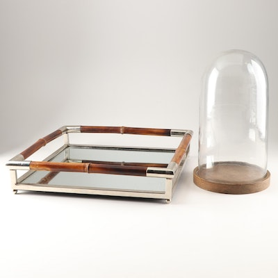 Mirrored Bamboo Gallery Tray and Glass Cloche