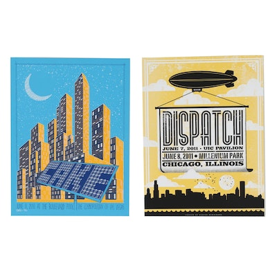 Todd Slater and Justin Helton Serigraph Concert Posters for CAKE and Dispatch