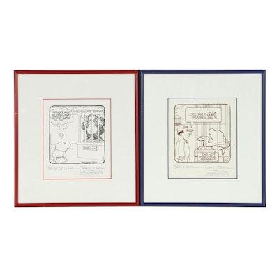 "Tom Wilson Jr. with Tom Wilson Comic Art Ink Drawings for ""Ziggy"""