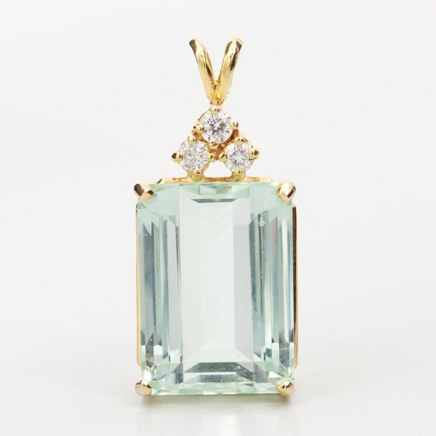 14K Yellow Gold 17.88 CT Aquamarine and Diamond Pendant