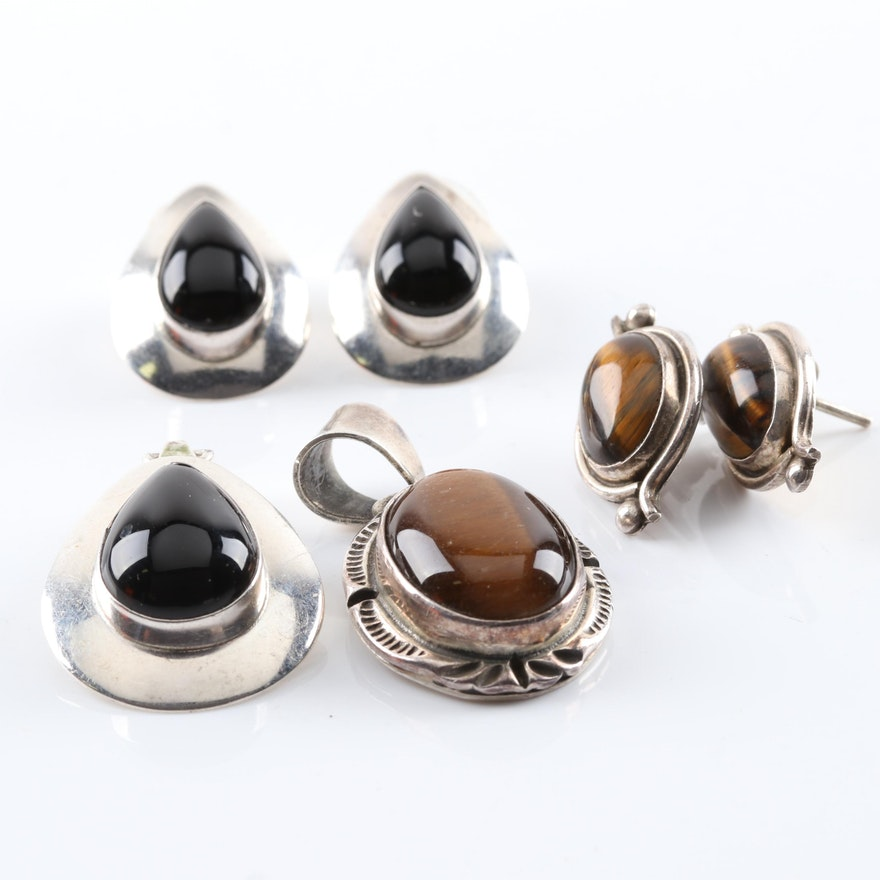 Sterling Silver Tiger's Eye and Black Onyx Demi-Parures
